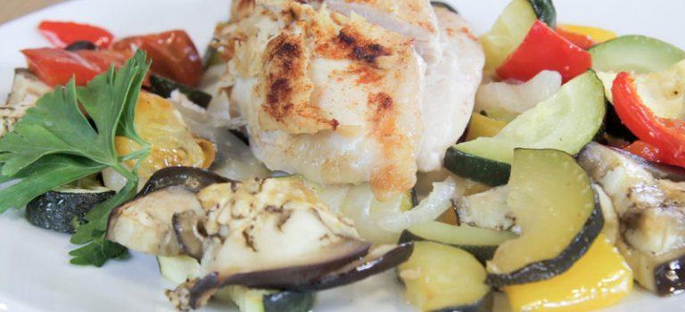 Hummus-Huhn mit Ofengemüse